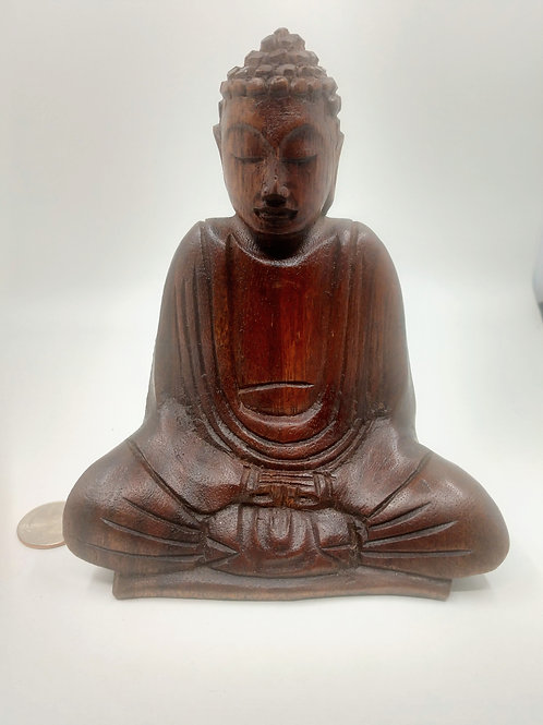 Sitting Meditaton Buddha, Wooden Medium Size
