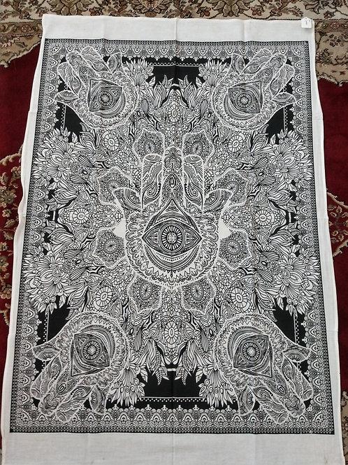 Hamsa Hand Black White Tapestry, Poster Size