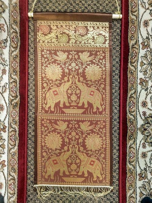 Brown Silk Elephant Two Pocket Letter/Book Holder Home Decor