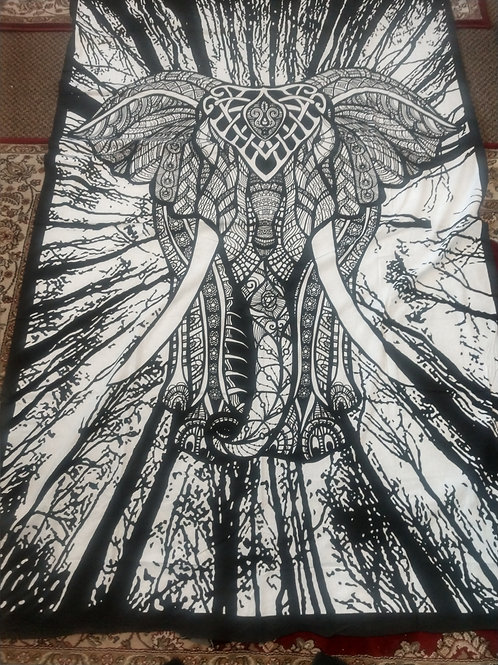 Black & White Elephant Twin Tapestry