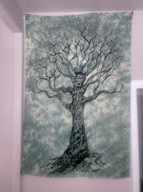 Tree of Life Tapestry, Green, Twin Size