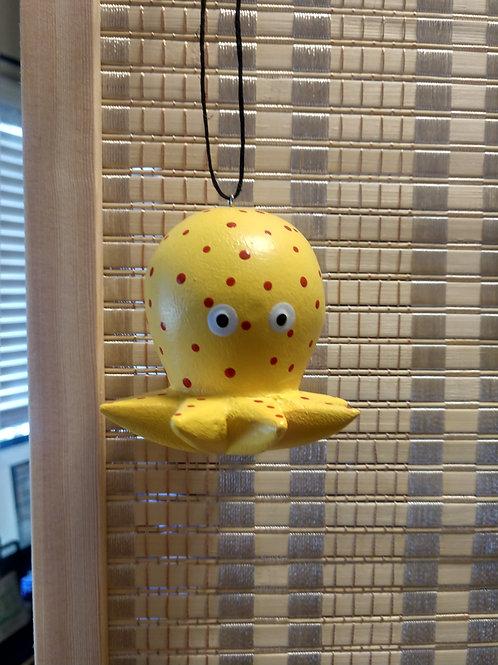 Whimsical Yellow Octopus Balsa Wood Ornament