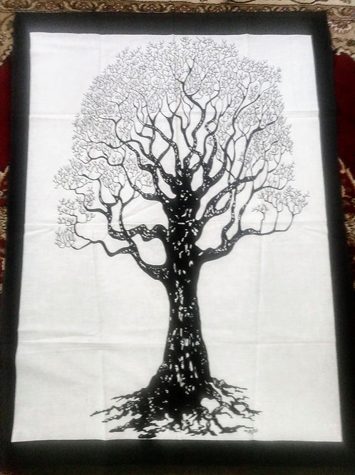 Black White Tree of Life Tapestry, Poster Size