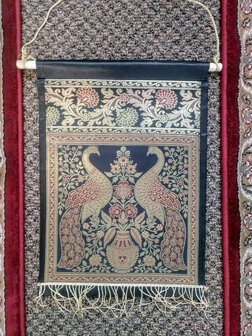 Black Silk Peacock Single Pocket Letter/Book Holder Home Decor