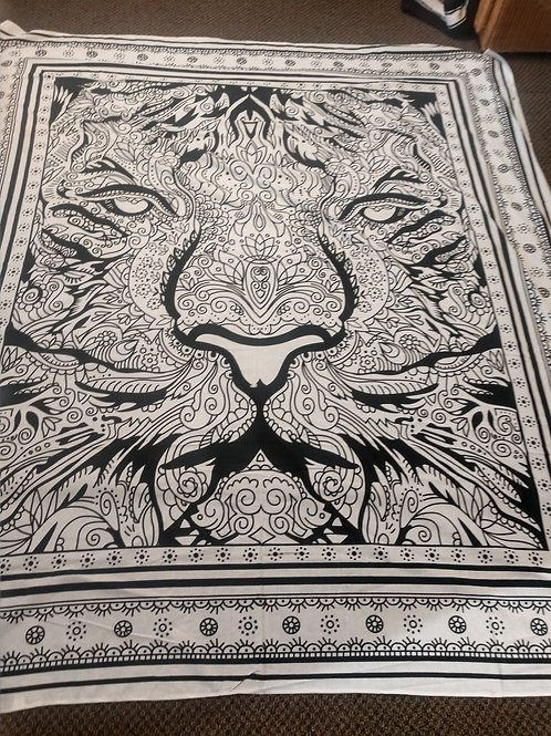 Black White Lion Tapestry, Queen Size