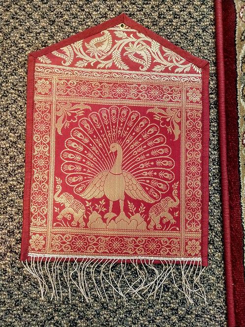 Silk Peacock Elephant Single Pocket Letter/Book Holder Home Decor - 2