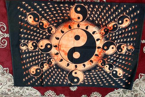 Orange Yin Yang Tapestry, Poster Size