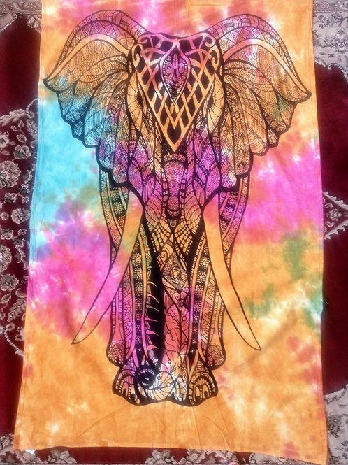 Tie Dye Elephant Tapestry, Poster Size