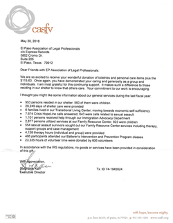 CASFV donations thank you letter