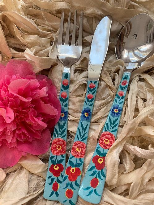 Kashmir Cutlery - Floral Blue