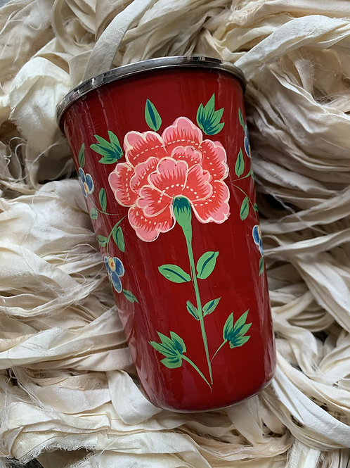 Kashmir Tumbler  - Red and Pink Bloom