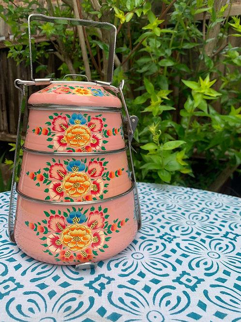 Kashmir 3-Tier Tiffin - Baby Pink
