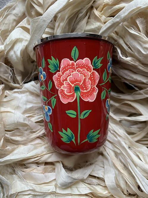 Kashmir Mini Tumbler  - Red and Pink Bloom