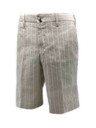 Striped linen bermuda