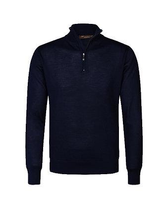 Zip corta in lana-seta-cashmere