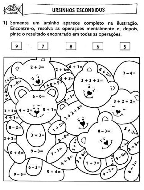 Atividades de Adição e Subtração: Ursinhos Escondidos - Atividades lúdicas