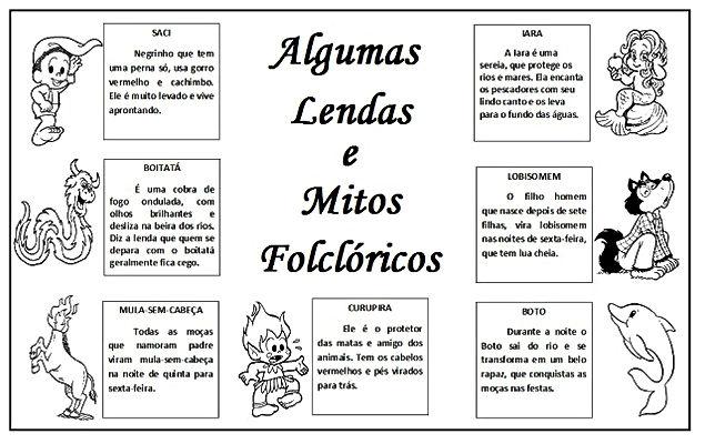 Atividades escolares - Folclore Brasileiro - Mitos e lendas