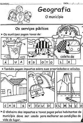 Atividades escolares - Serviços Publicos - Geografia - Ensino Fundamental