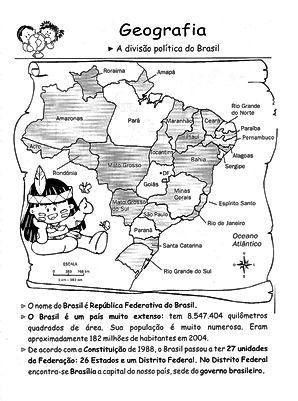 Atividades escolares - Divisão politica do Brasil - Geografia 5º ano - Ensino Fundamental
