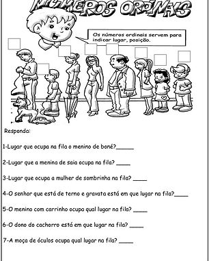 Atividades escolares - Números ordinais