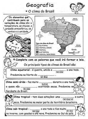 Atividades escolares - Geografia 5º ano - Ensino Fundamental