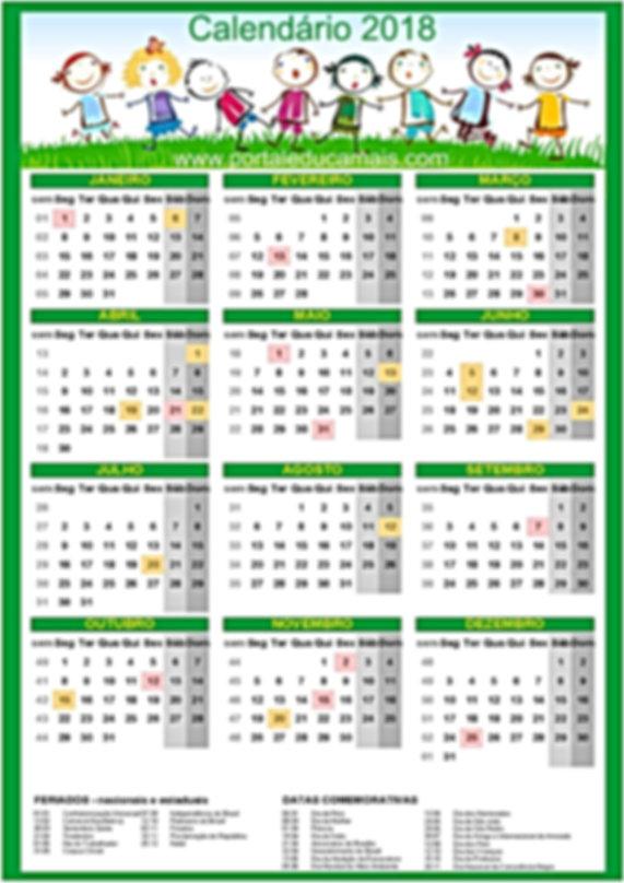 Calendário 2018 portal Educa Mais