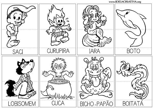 Atividades escolares - Folclore Brasileiro - Personagens do Folclore - Mitos e Lendas - png