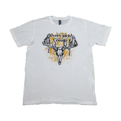 "Men's ""Every Inch Counts"" Tattered Tee (White/Brown)"