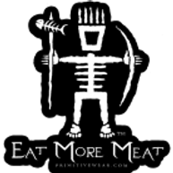"Primitive Wear Logo Sticker with ""Eat More Meat"""