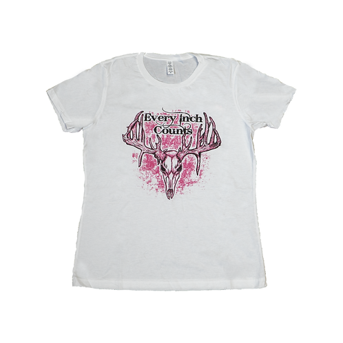 """Women's """"Every Inch Counts"""" Graphic Tee (White/Pink)"""