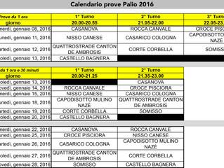 Calendario prove 2016