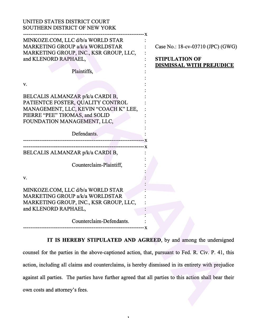 KSR lawsuit against Cardi B settled