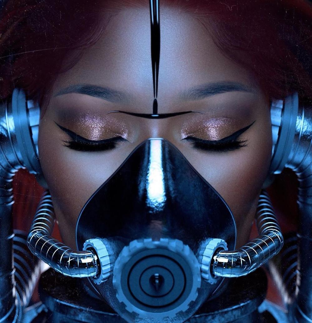 Megan Thee Stallion wearing futuristic mask