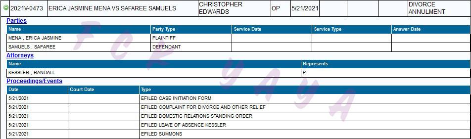 ERICA MENA COURT DOCUMENT FOR DIVORCE