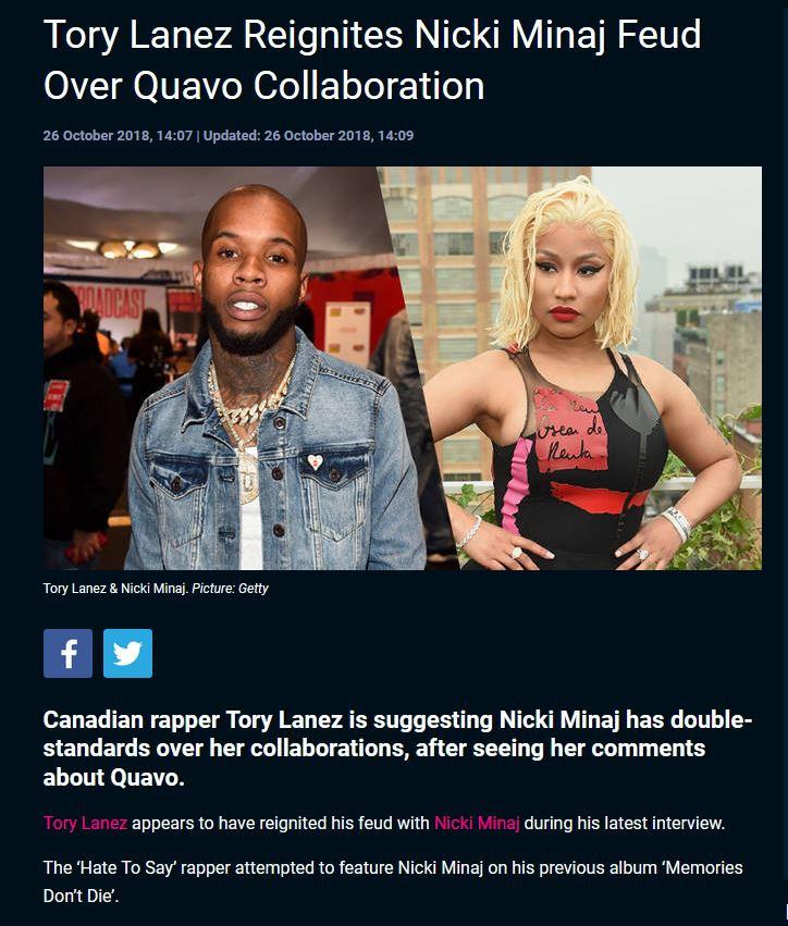 Tory Lanez disses Nicki Minaj