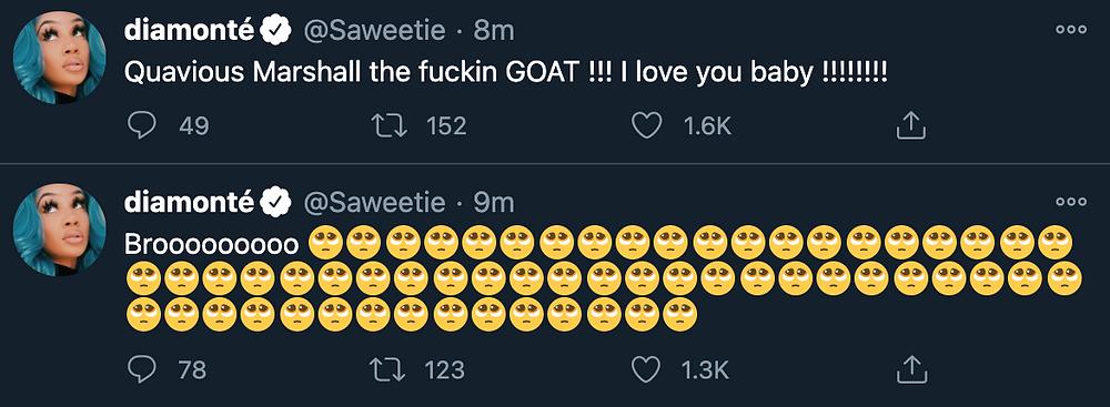 Saweetie tweeting Quavo love him for Bentley