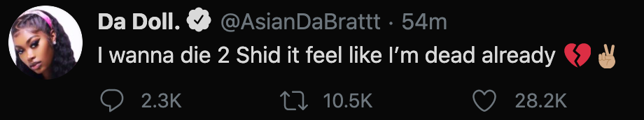 Asian Doll responds to shooting of King Von on Twitter.