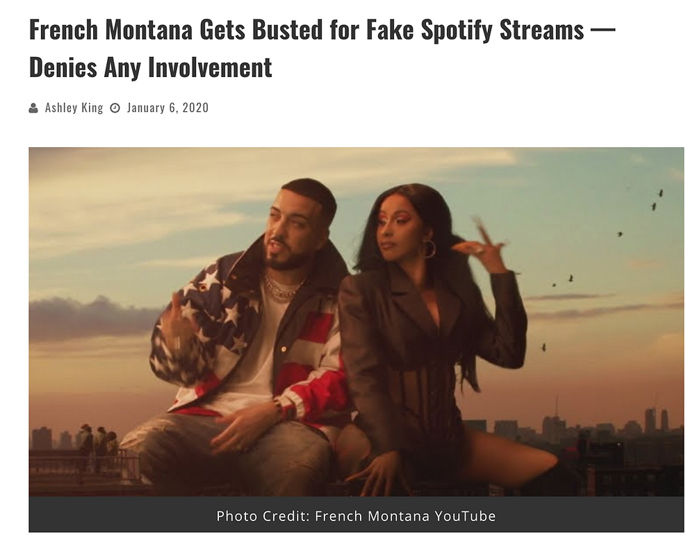 french montana and cardi b fake streams for song