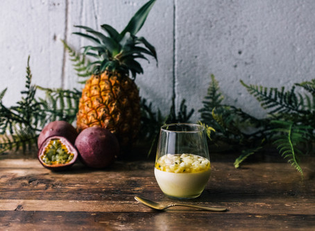 """SEASONAL SWEETS BY LAPAZ """"Coconut blanc-manger """" ~ tropical fruits sauce ~"""