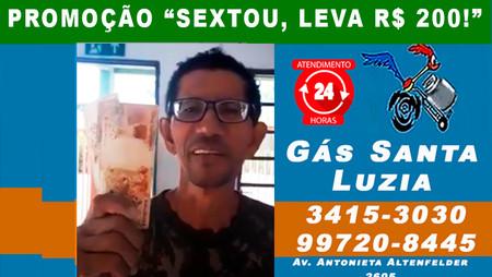 Mais um cliente premiado com R$ 200 na Promoção do Gás Santa Luzia! Participe você também!