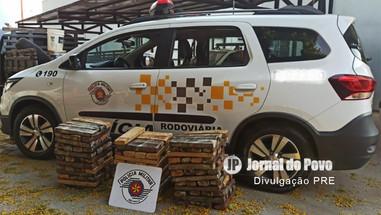 PRE apreende 150 quilos de maconha em fundo falso de veículo, em rodovia na região