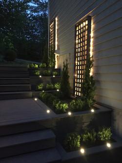 Terraced garden bed lit up