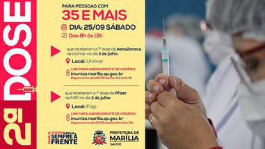 Hoje tem agendamento de vacinação de segunda dose para 35 anos e mais, neste sábado
