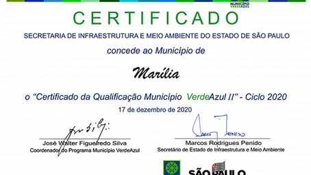 Marília tem nota máxima no Ranking Ambiental sobre Sustentabilidade no Programa Município Verde Azul