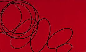 150 Paintings of June Harwood | Abstract Hard-Edge Artist | Loop Series | Red-Black | 1965