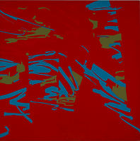 150 Paintings of June Harwood | Abstract Hard-Edge Artist | Reflection Series | Untitled | 1977 | Red