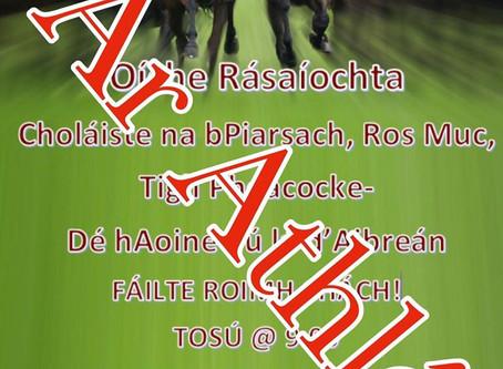 Tá an Oíche Rásaíochta curtha ar athló mar gheall ar chúrsaí sláinte agus sábháilteachta an phobail.