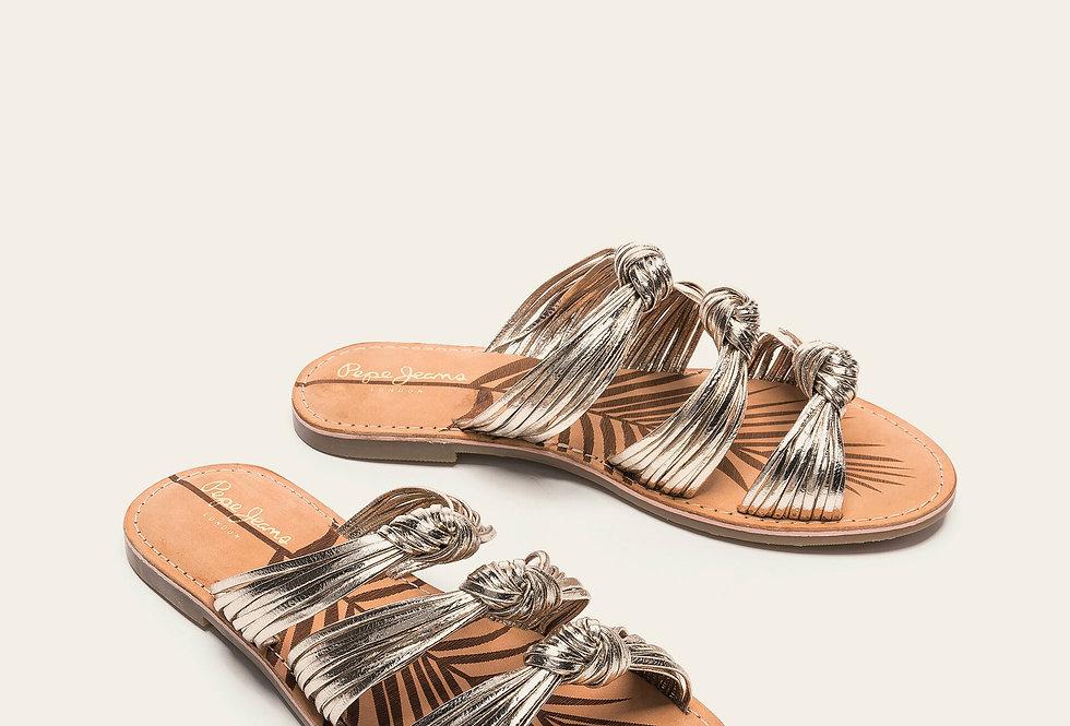 Sandalo fasce in pelle