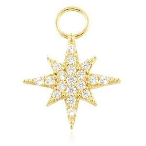 Jewelled 'North Star' - Gold Huggie Charm - TISH LYON®