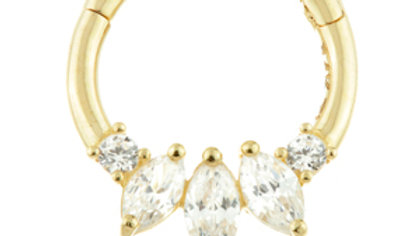 Gold Triple Marquess Hinge Daith ring